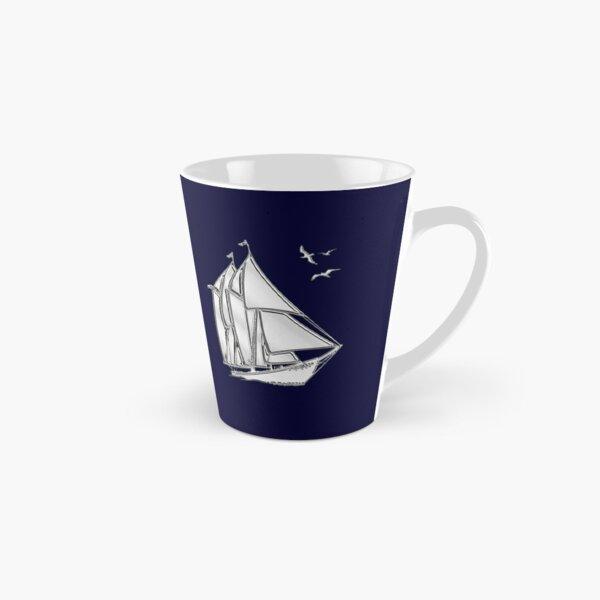 Chrome Style Nautical Sail Boat Applique Tall Mug