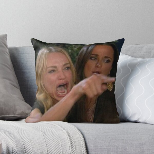 Woman Yelling At A Cat Meme Throw Pillow
