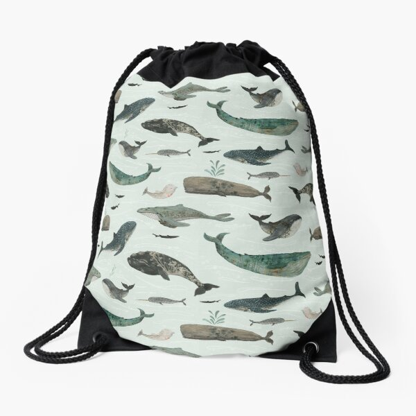 Tattooed Whales Drawstring Bag