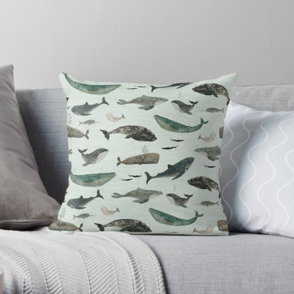 Tattooed Whales Throw Pillow