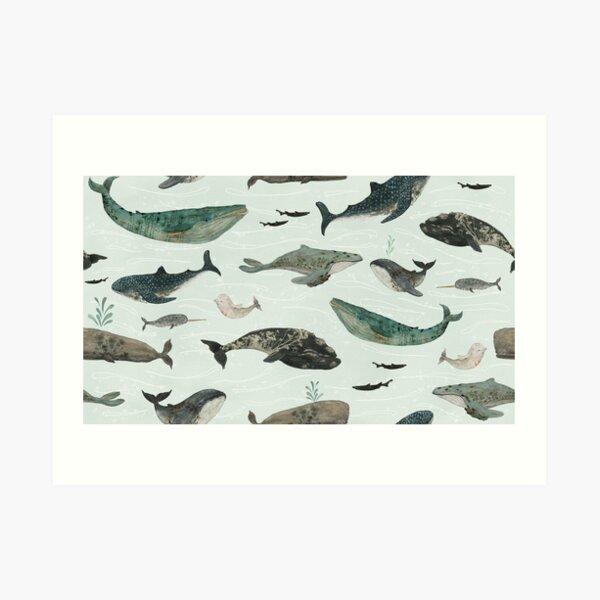 Tattooed Whales Art Print