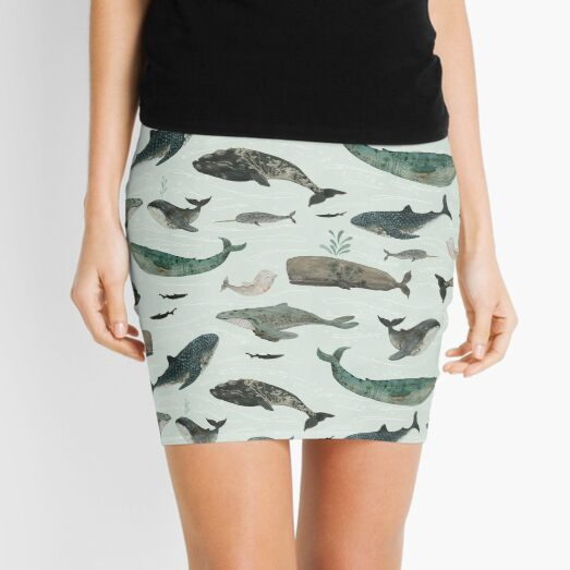 Tattooed Whales Mini Skirt