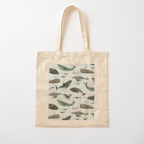 Tattooed Whales Cotton Tote Bag
