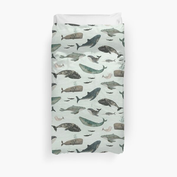Tattooed Whales Duvet Cover