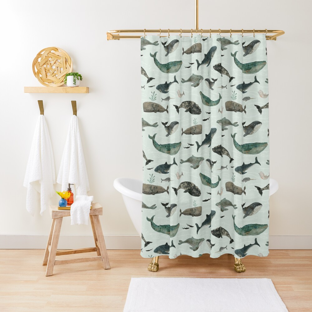 Tattooed Whales Shower Curtain