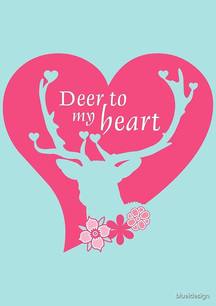 Deer Love Heart Woodland Mint Pink by blueidesign