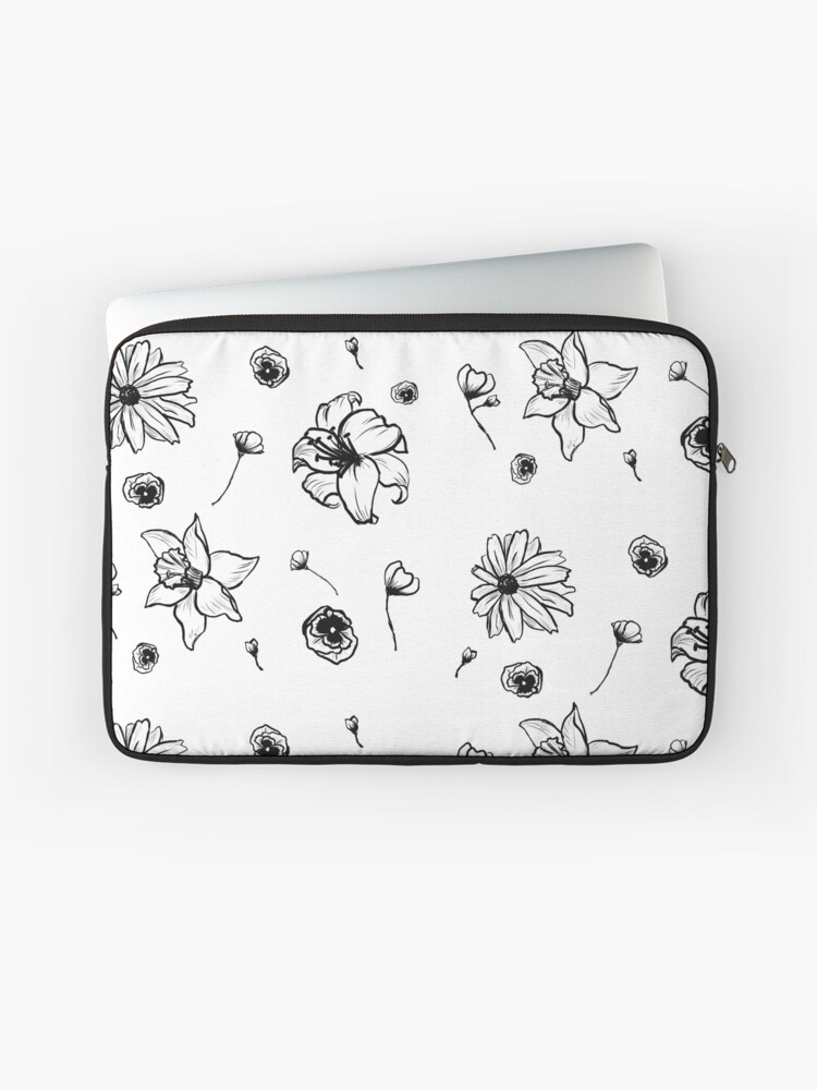 Sketch Art Flower by Leadart on Laptop Sleeve Laptop Sleeve
