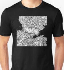 Black White Music Collage Unisex T-Shirt
