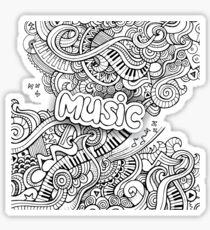 Black White Music Collage Sticker