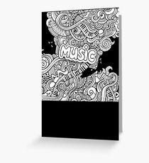 Black White Music Collage Greeting Card