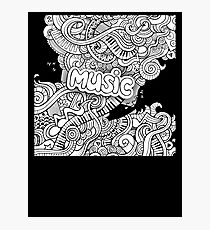 Black White Music Collage Photographic Print