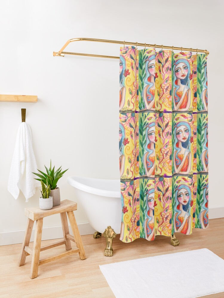 Alternate view of Girl in the Garden 2 Shower Curtain