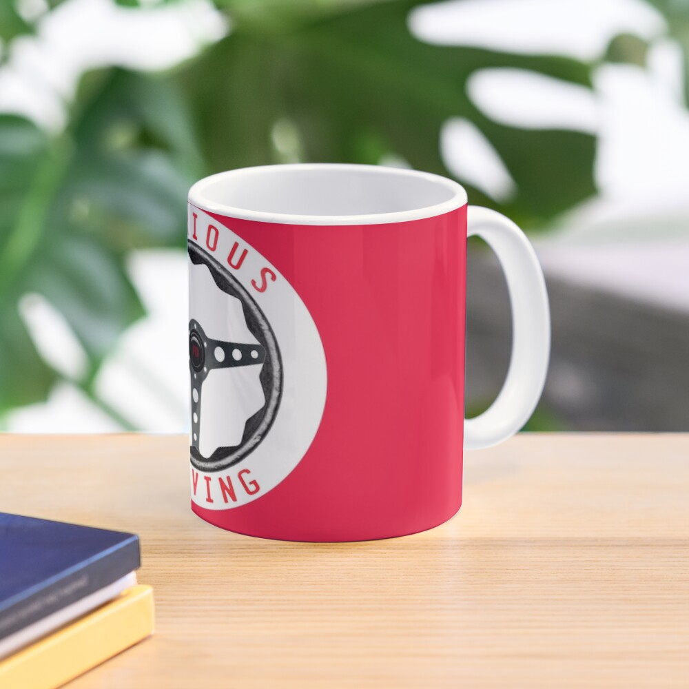 Furious Driving logo - White racing number circle background Mug