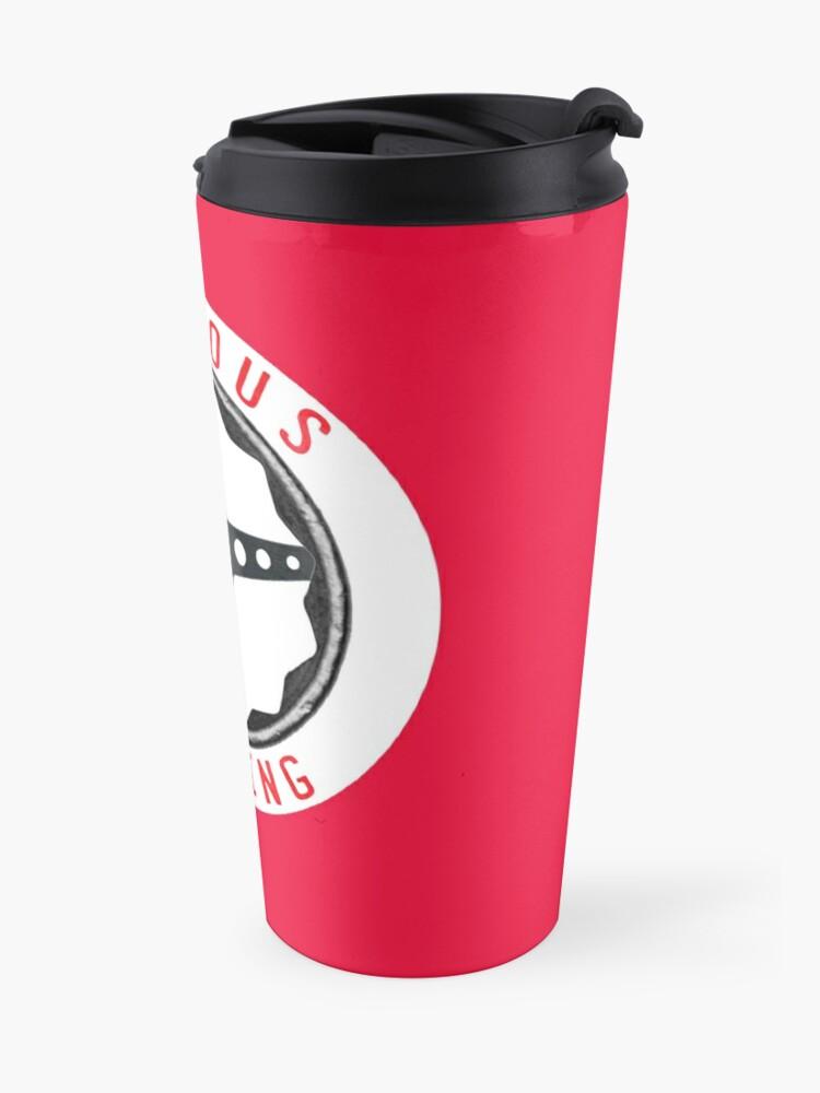 Alternate view of Furious Driving logo - White racing number circle background Travel Mug