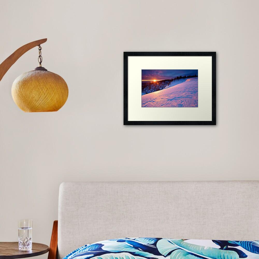 Impression encadrée «Lever de soleil en hiver au-dessus du Lac Blanc»