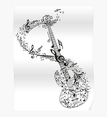 Gitarre und Musiknoten Poster