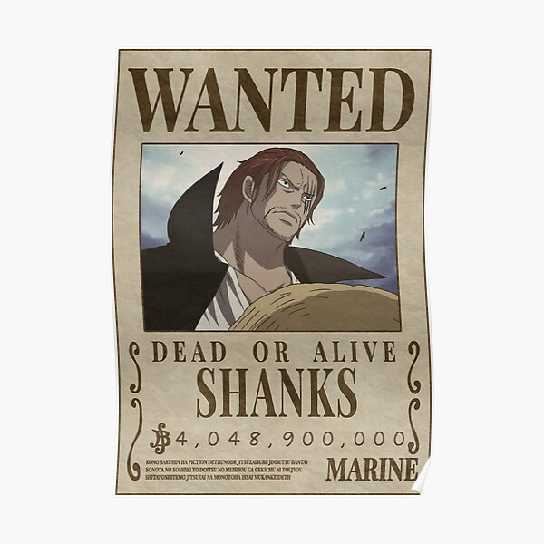 Wanted Shanks - shanks bounty Poster