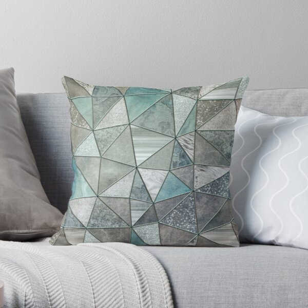 Teal And Grey Triangles Stained Glass Style Throw Pillow