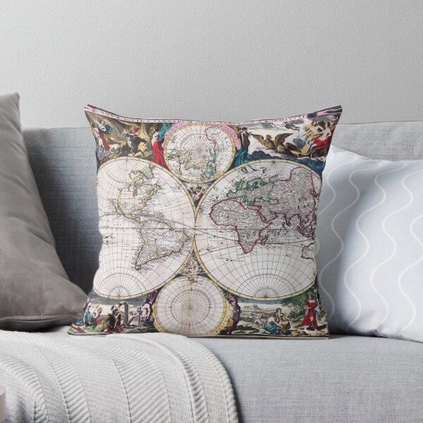 Antique Map of the World Bormeester/Dutch circa 1685 Throw Pillow