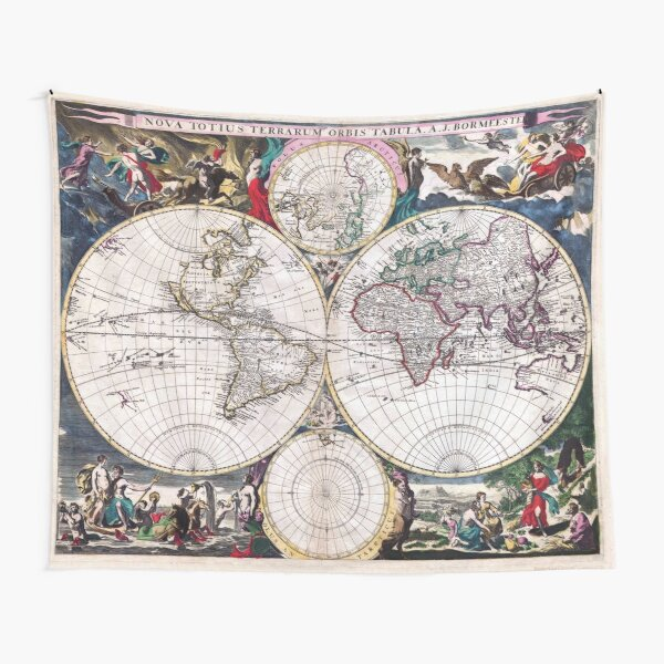 Antique Map of the World Bormeester/Dutch circa 1685 Tapestry