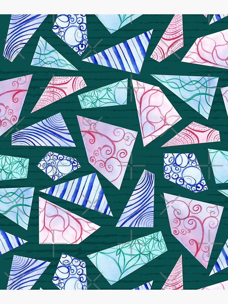 Pastel colored doodle watercolor polygon shapes on dark green by nobelbunt