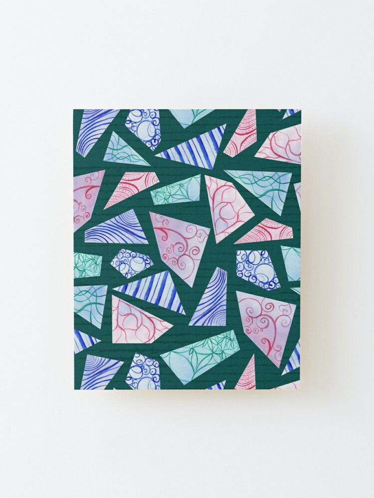Alternate view of Pastel colored doodle watercolor polygon shapes on dark green Mounted Print