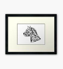 Scribbler Pit Bull Framed Print