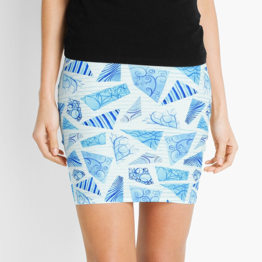 Hand-painted doodle watercolor polygon shapes on stripes Mini Skirt