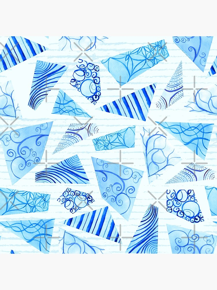Hand-painted doodle watercolor polygon shapes on stripes by nobelbunt