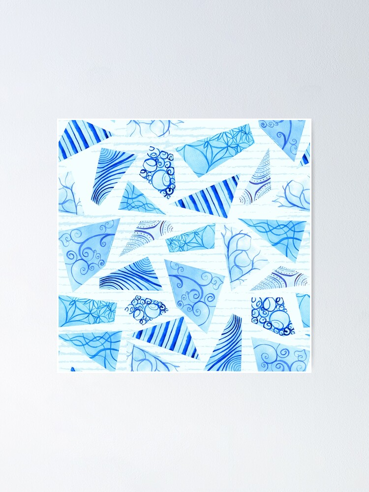 Alternate view of Hand-painted doodle watercolor polygon shapes on stripes Poster