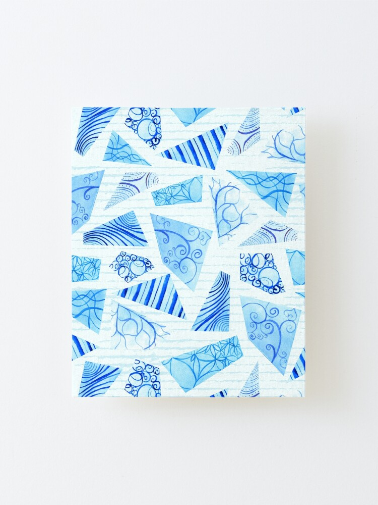 Alternate view of Hand-painted doodle watercolor polygon shapes on stripes Mounted Print