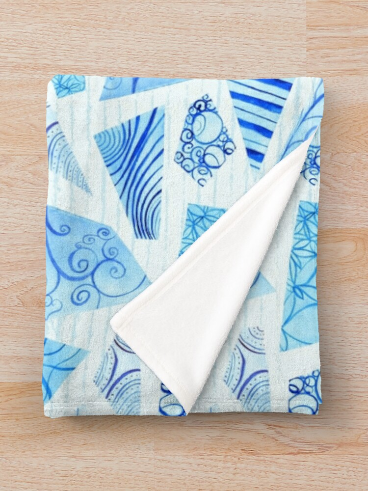 Alternate view of Hand-painted doodle watercolor polygon shapes on stripes Throw Blanket
