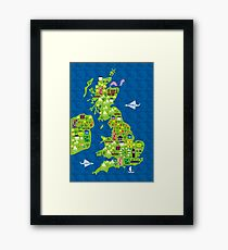 cartoon map of the UK Framed Print