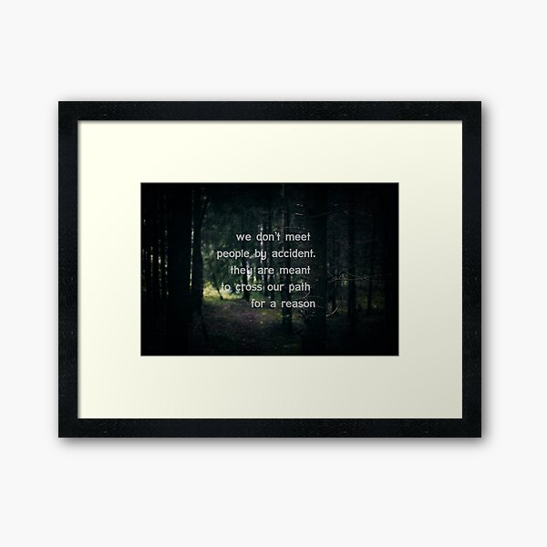 We don't meet people by accident, they are meant to cross our path for a reason. Framed Art Print