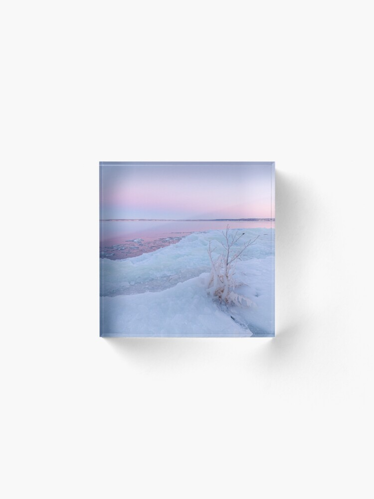 Alternate view of Lake shore scenery at dusk winter in Finland Acrylic Block