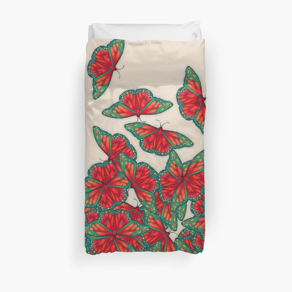 Ruby & Emerald Butterfly Dance - red, teal & green butterflies on cream Duvet Cover