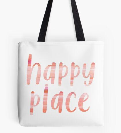 Happy Place | Motivational Coral Blush Painting Colored Typography Tote Bag