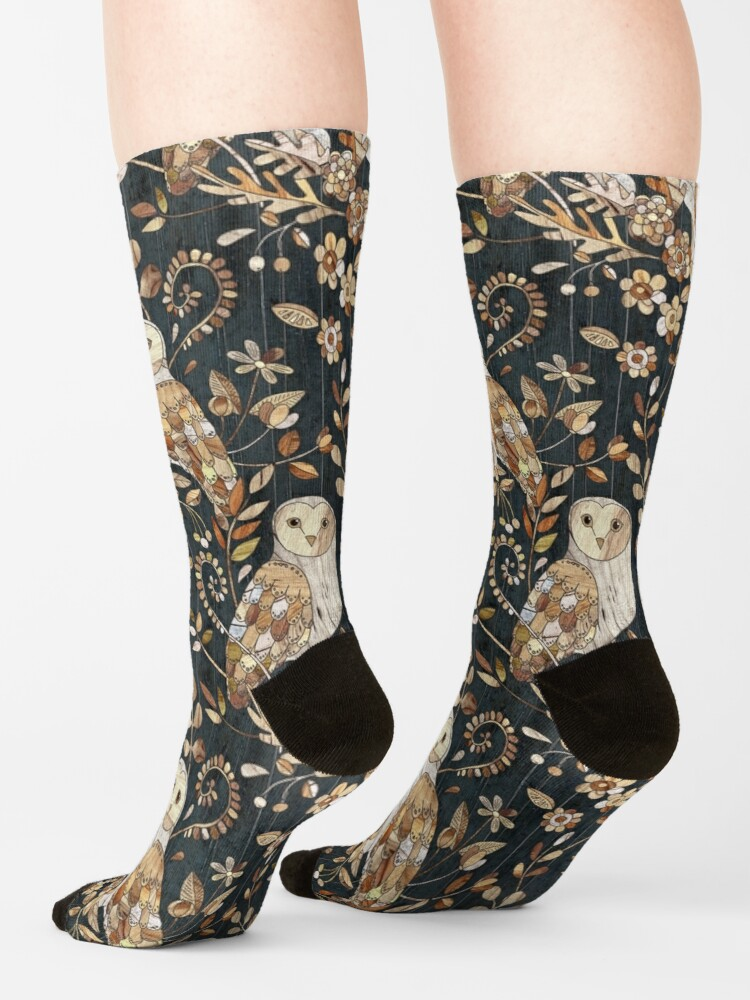 Alternate view of Wooden Wonderland Barn Owl Collage Socks