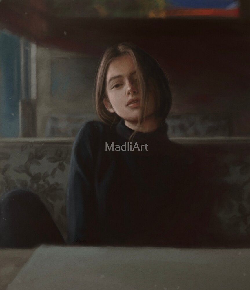 Dreamy Girl In Cafe by MadliArt