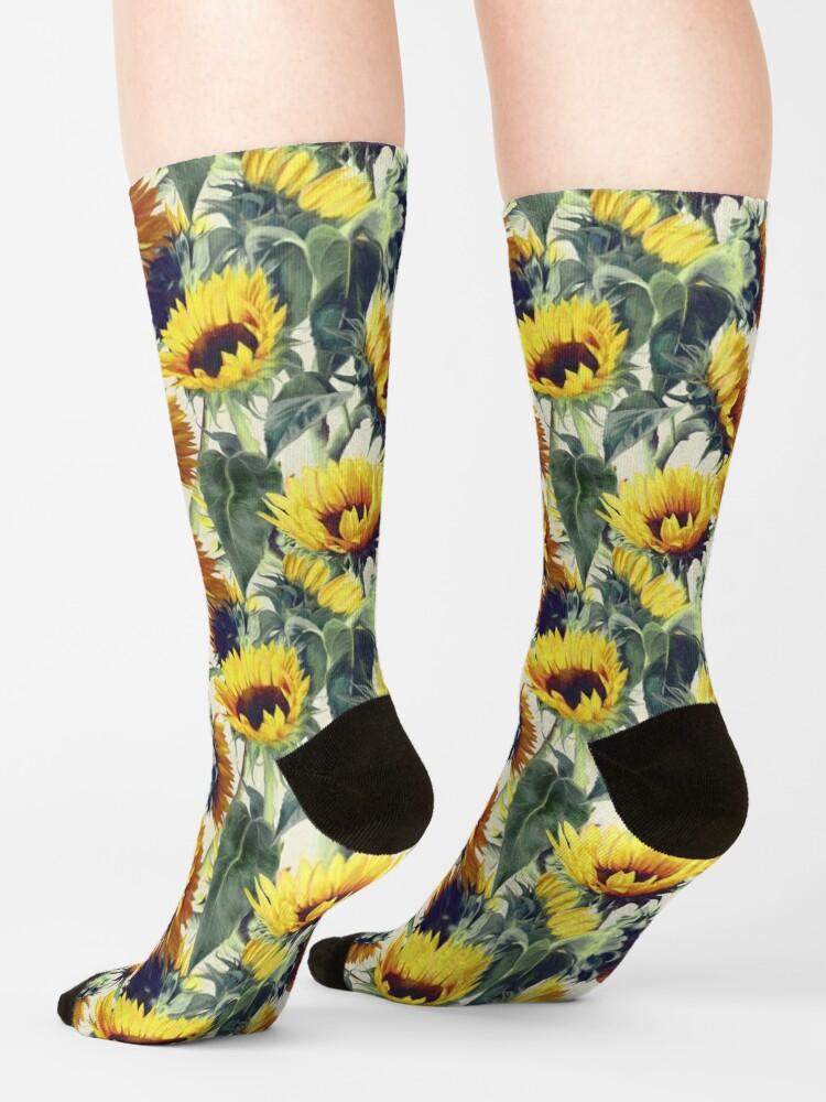 Alternative Ansicht von Sonnenblumen für immer Socken