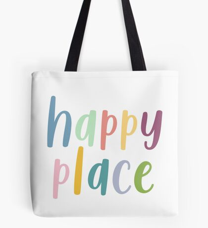 Happy Place | Colourful Typography Tote Bag