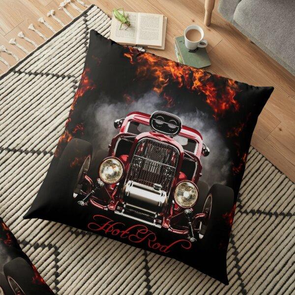 RED HOT HOT ROD  Floor Pillow