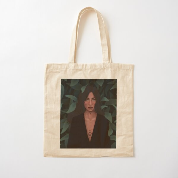 Protect the Nature, Stay Wild III - Strong Confident Woman Surrounded by Leaves - Digital Illustration by MadliArt Cotton Tote Bag