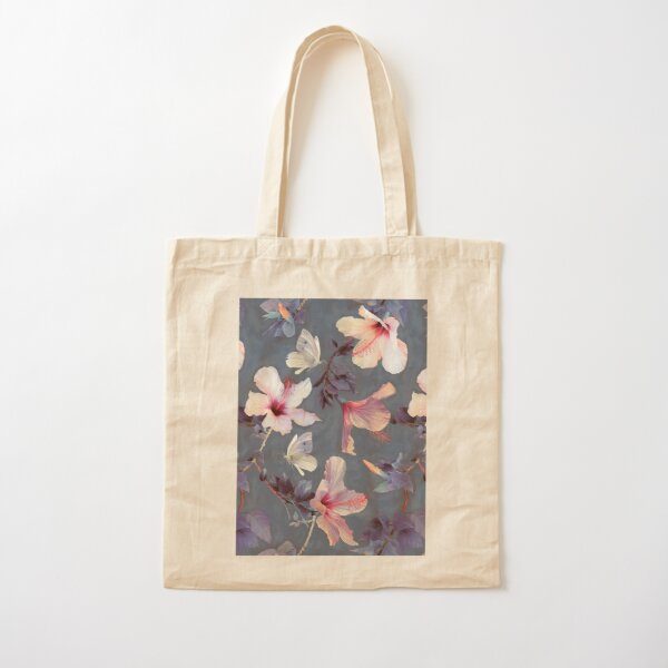 Butterflies and Hibiscus Flowers - a painted pattern Cotton Tote Bag