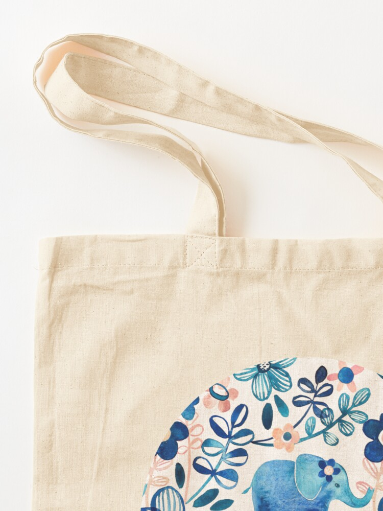 Alternate view of Blush Pink, White and Blue Elephant and Floral Watercolor Pattern Tote Bag