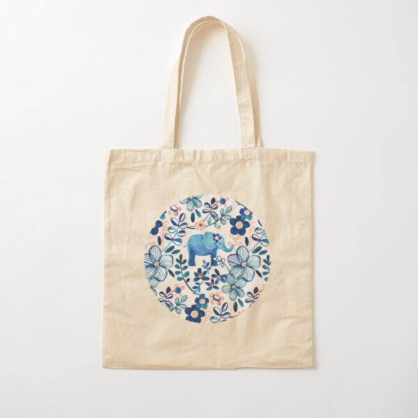 Blush Pink, White and Blue Elephant and Floral Watercolor Pattern Cotton Tote Bag