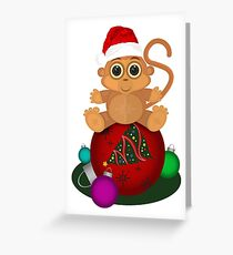 Christmas Monkey Greeting Card