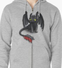 Toothless, Night Fury Inspired Dragon. Zipped Hoodie