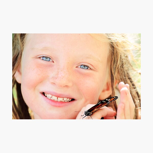 Proud of her butterfly Photographic Print