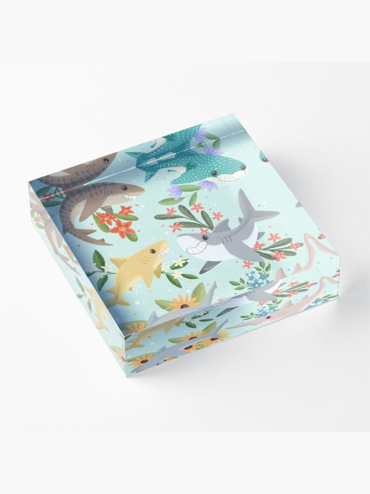 Alternate view of Floral Sharks Acrylic Block